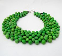Green beaded necklace made from Acai fruit.  This color is absolutely gorgeous.