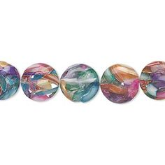 Bead, mother-of-pearl and resin (dyed/assembled), clear and multicolored, 10-11mm puffed flat round. Sold per 15-inch strand. - Fire Mountain Gems and Beads