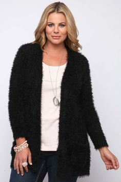 Fashion Bug Women's Plus Size Eyelash Cardigan. www.fashionbug.us #plussize #FashionBug