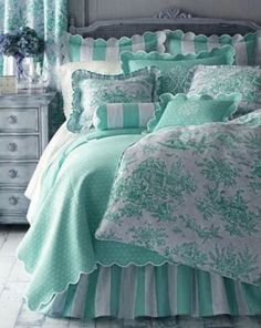 Twin Bed Sets With Comforter Refferal: 4927786603 Dream Bedroom, Home Bedroom, Bedroom Decor, Toile Bedding, Bedding Sets, Aqua Bedding, Striped Bedding, Green Girls Rooms, Girl Rooms