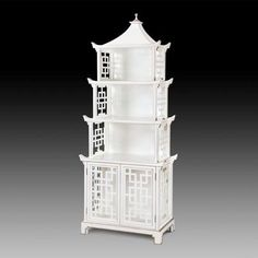 WHITE ANTIQUE LACQUER PAGODA SHELF, Gold Accents, Bookcase, HOLLYWOOD REGENCY #Asian