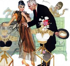 """Joe De Mers. I love this illustration using a middle aged couple instead of always the very young. This illustration accompanied the story """"Love Comes Late"""" in the Saturday Evening Post, August, 1956."""