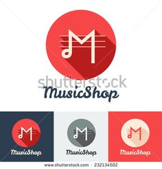 Vector flat modern minimalistic music shop or studio logo set - stock vector