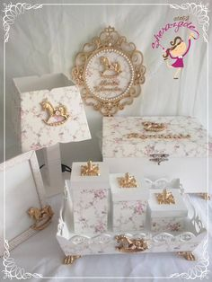 Baby Stuff Diy Country Ideas For 2019 Baby Nursery Decor, Baby Decor, Decoupage, Tot Trays, Dessert Table Decor, Painted Jewelry Boxes, Kit Bebe, Baby Kit, Baby Christening