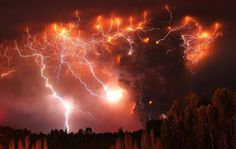When volcanoes erupt, charge in the atmosphere around the smoke plume creates lightning. This from Puyehue Volcanoe, Chile. Wow.