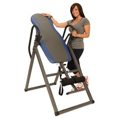 """Ironman Essex 990 Inversion Table. User weight capacity of 275 lbs. Designed for users from 4'10"""" to 6'6"""". Heavy duty 1.5 inch square steel frame construction to prevent any instability when inverting. Inverts to a full 180 degrees. Easy pull Pine release System for ankle holders. Adjustable tether strap allows different inverting angles."""