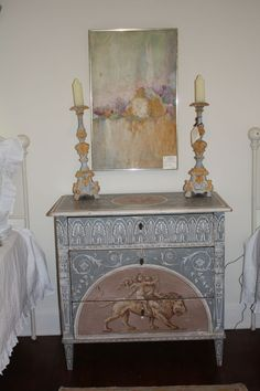 love this beautifully painted simple chest of drawers