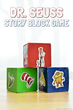 Dr. Seuss Story Block Game (and DOZENS of other Seuss projects!) - Mad in Crafts