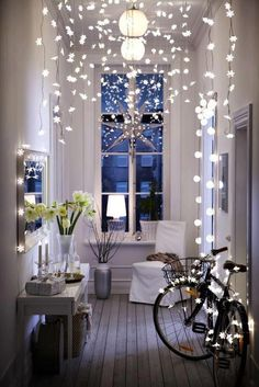Winter decor - brighten up the house all winter long with Christmas twinkly lights. Hang from doorways, window frames, around mirror, dresser mirror, above kitchen cabinets, inside cabinets with glass doors, place battery operated lights inside clear glass containers or bowls, place behind gauzy curtains, underneath linen or lace table runners on entertainment center