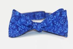 blue floral freestyle bow tie by dotandace on Etsy, $30.00