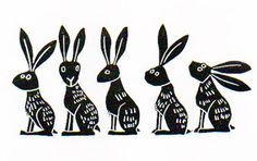 """Line of Hares"" linocut by Melanie Wickham.http://www.etsy.com/uk/people/melaniewickham?ref=owner_profile_leftnav Tags: Linocut, Cut, Print, Linoleum, Lino, Carving, Block, Woodcut, Helen Elstone, Rabbits, Hares, Animals."
