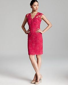 David Meister Dress - Cap Sleeve Lace