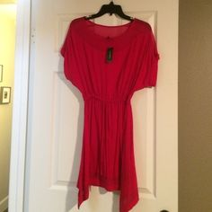 Express dress - NWT Red dress, never worn. Bought on a shopping spree. Red is just a card color for me to wear. Drawstring waste line. Light material. Express Dresses