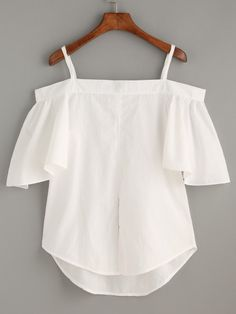 Size Available:one-size Fabric:Fabric has no stretch Pattern Type:Plain Sleeve Length:Half Sleeve Color:White Material:Cotton Style:Casual Collar:Spaghetti Strap Sleeve Diy Fashion, Ideias Fashion, Fashion Outfits, Fashion Design, Summer Outfits, Casual Outfits, Cute Outfits, Vetement Fashion, Diy Clothes