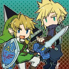 Link and Cloud, The Legend of Zelda / Final Fantasy VII artwork by Sunagimo (Nagimo)