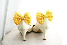 Yellow bow Shoe clips, polka dots.
