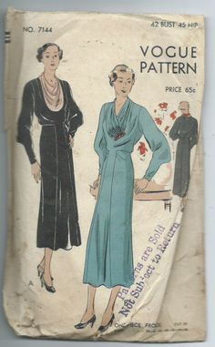 Vintage 1930s One-Piece Frock Sewing Pattern Vogue 7144 by lavenderskye on Etsy