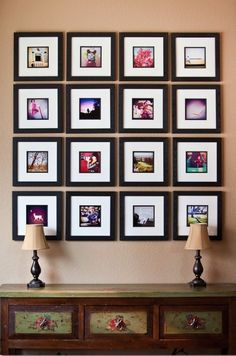 instagram photo wall. Could do this with art or enlarged stamps