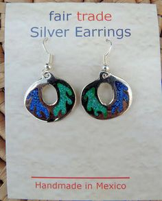 Alpaca Silver Earrings inlaid with crushed turquoise and malachite  handmade in Mexico, Fair Trade $17.99