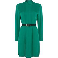 Michael Kors Long sleeve silk shirt belted dress ($425) via Polyvore featuring dresses, green, women, long sleeve shirt dress, belted dress, green shirt dress, long shirt dress and green dress
