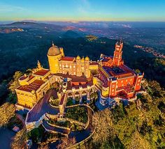 🌎Portugal:Amazing Pena Palace in Sintra just 30 minutes from Lisboa. Considered to be Europe's best castle by European Best Destinations. Visit Portugal, Portugal Travel, Spain And Portugal, Spain Travel, Places Around The World, Travel Around The World, Saint Marin, Places To Travel, Places To Visit