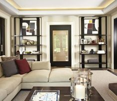 A comfortable relaxed and elegant living room I designed for a client. Family Room, Home And Family, Interior Design Gallery, Elegant Living Room, Sofa, Couch, Contemporary Interior, My Design, Bookcase