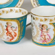 1144: (2) fine Sevres bleu celeste cups and saucers : Lot 1144