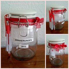 """Vor einiger Zeit habe ich ein Foto von einem """"Erinnerungsglas"""" im Internet gesehen.   Nun brauchten wir noch ein Weihnachtsgeschenk für die ..."""