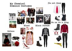"""My Chemical Romance Costumes"" by queen26yassy on Polyvore featuring Funtasma, Yves Saint Laurent, Ballet Beautiful, Dr. Martens, Coach, Equipment, Paul Frank and Converse"