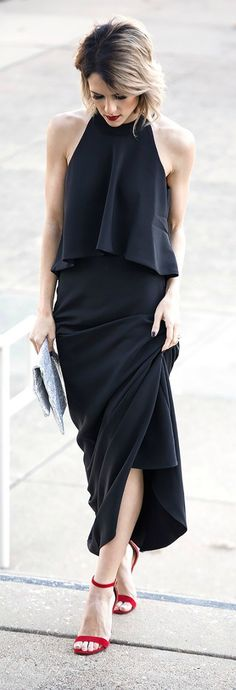 Cool, Calm, and Collected Black Two-Piece Maxi Dress