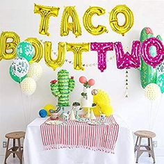 2 Year Old Birthday Party Girl, 2nd Birthday Party Themes, Girls Birthday Party Themes, Fiesta Theme Party, Birthday Fun, First Birthday Parties, Birthday Party Decorations, Birthday Ideas, Letter Balloons