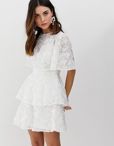 Buy Keepsake wild love ruffle mini dress at ASOS. With free delivery and return options (Ts&Cs apply), online shopping has never been so easy. Get the latest trends with ASOS now. Casual Bridesmaid Dresses, Simple Homecoming Dresses, Prom Dresses With Pockets, Casual Summer Dresses, Confirmation Dresses White, Baby Christening Dress, First Communion Dresses, Lace Midi Dress, Mode Hijab