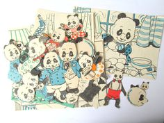 Panda craft kit: pack of 40 vintage paper panda embellishments. Die cut style pieces from old books for scrapbooks, craft, collage.