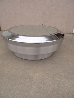 RARE Mid Century Chrome Mastercraft Round Saucer Mirrored Coffee Table Storage | eBay