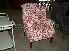 Geometric Upholstered Wing Back Chair Atakc.com