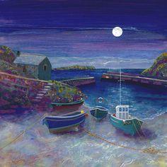 Mullion Moonlight | Gilly Johns Landscape Art, Landscape Paintings, Ocean Photography, Photography Tips, Wedding Photography, Moonlight Painting, Seaside Art, Art Uk, Naive Art