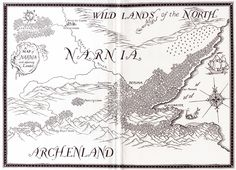 Endpaper map by Pauline Baynes for Prince Caspian