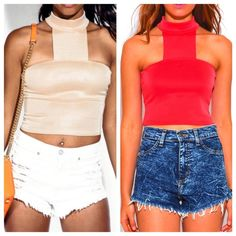 Nude/ or Bright coral colored high neck crop top BRAND new! Comes in either color only size SMALL left in both! Made out of polyester -so fabric not too dressy- just depends how you wear it. Please message me and tell me which color you would like and I will create a new listing for you! REASONABLE OFFERS ACCEPTED! ❤️ NO TRADES! Xoxo Tops Crop Tops