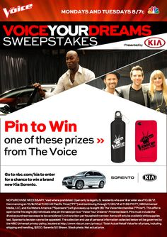 This sweepstakes has now ended. //Click this pin to find out how to win a Kia Sorento and weekly prizes from Kia Motors and The Voice. Be sure to check back each week for additional chances to pin and win! #VoiceYourDreamSweeps