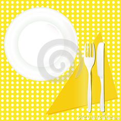 Illustration of a dish on a yellow background and fork knife.