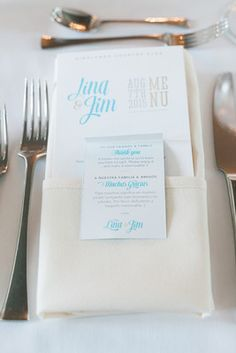 White wedding place setting idea - menu + thank you note at each place setting {Monica Mendoza Photography}