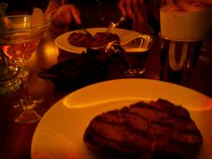 My steak last night at the Hawksmoor. Mushrooms, triple baked chips, and an Old Fashioned. Yeah.