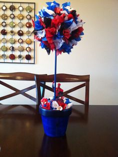 Aaron and Alex's Spider-man centerpiece! Turned out really cute!