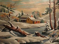 beautiful large vintage paint by number features a lovely home tucked in the winter wonderland with stream in foreground. nice colors mid range, some subtle tones,    measures 20 wide x 16 high. on its original cardboard backing. shows slight wear on edges, but still very nice condition. there is a crease on top left corner, but not very noticeable.    Please convo if you have any questions . I will gladly add your location if you ask :)    check out my 3 other etsy shops…