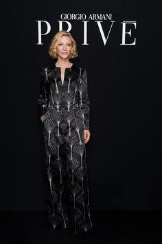 """#CateBlanchett, face of the #GiorgioArmani """"Si"""" fragrance, at the #GiorgioArmaniPrivé #FW16 fashion show. #pfw"""