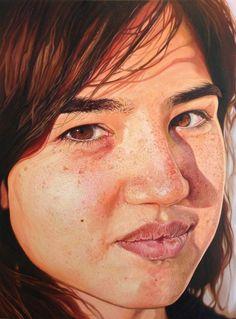 "Hyper-realistic oil on canvas portrait by Megan Van Groll. 48""x36"""