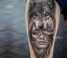 Pretty 2 colors realistic tattoo style of Wild girl with blue eyes, done by tattoo artist Jurgis Mikalauskas Post 21053 World Tattoo Gallery Best place to Tattoo Arts - Wolf Girl Tattoos, Indian Girl Tattoos, Tattoos Of Wolves, Wolf Tattoo Forearm, Wolf Tattoo Sleeve, Tattoo Wolf, Realistic Tattoo Sleeve, Manga Tattoo, Warrior Tattoo Sleeve