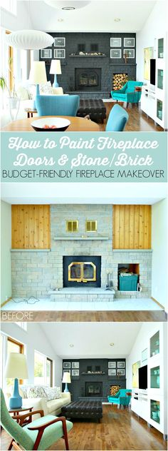 How to Easily Paint a Brick or Stone Fireplace and Metal Fireplace Door - Tips and Tricks for Getting the Job Done Quickly, Plus Links to the Right Products // Charcoal Grey Fireplace Makeover by @danslelakehouse