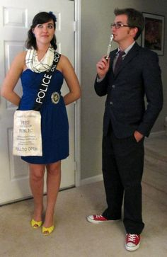 TARDIS and 10th Doctor. Love this tardis costume. Is her sign a purse? I love practical things.