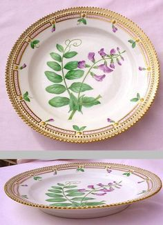 Flora Danica, My very most favorite  China by Royal copenhagen. Every piece  is a different flower, beautiful gold borders!!